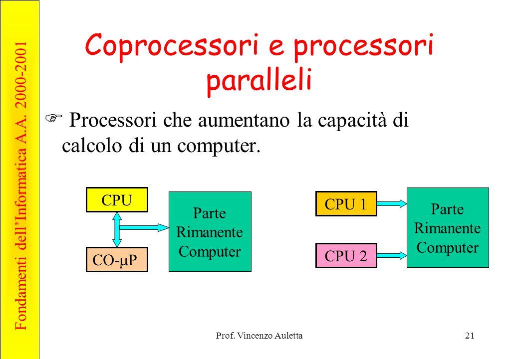Fondamenti dell'Informatica A.A. 2000-2001 Prof. Vincenzo Auletta21 Coprocessori e processori paralleli  Processori che aumentano la capacità di calc