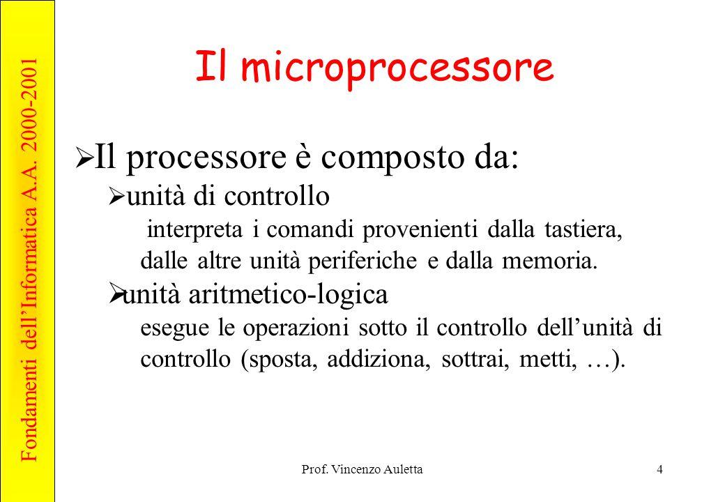Fondamenti dell'Informatica A.A. 2000-2001 Prof. Vincenzo Auletta4 Il microprocessore  Il processore è composto da:  unità di controllo interpreta i