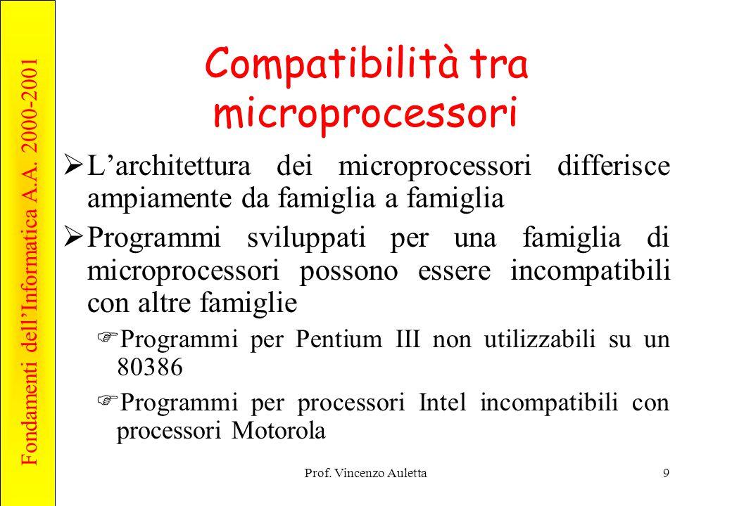 Fondamenti dell'Informatica A.A. 2000-2001 Prof. Vincenzo Auletta9 Compatibilità tra microprocessori  L'architettura dei microprocessori differisce a