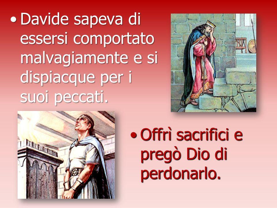 Davide sapeva di essersi comportato malvagiamente e si dispiacque per i suoi peccati.Davide sapeva di essersi comportato malvagiamente e si dispiacque
