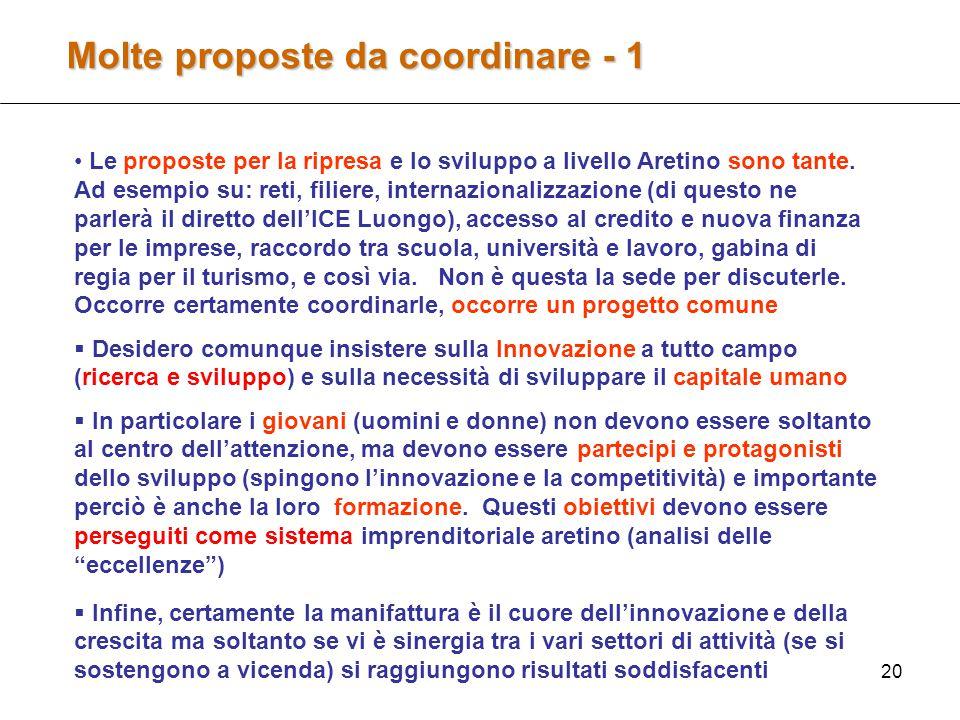 20 Molte proposte da coordinare - 1 Le proposte per la ripresa e lo sviluppo a livello Aretino sono tante.