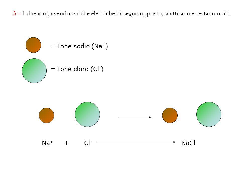 Na + + Cl - NaCl = Ione sodio (Na + ) = Ione cloro (Cl - ) 3 – I due ioni, avendo cariche elettriche di segno opposto, si attirano e restano uniti.