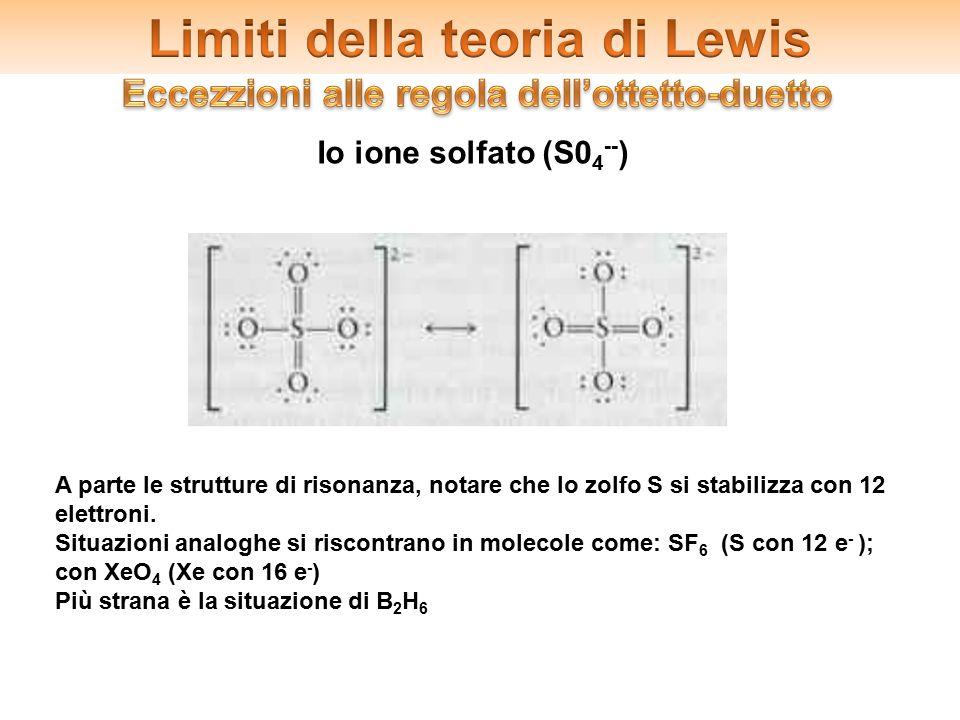2.Gli ibridi di risonanza Io ione solfato (S0 4 -- ) A parte le strutture di risonanza, notare che lo zolfo S si stabilizza con 12 elettroni. Situazio