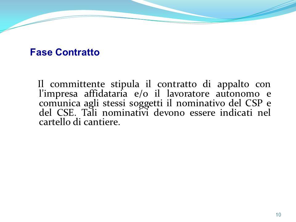 Il committente stipula il contratto di appalto con l'impresa affidataria e/o il lavoratore autonomo e comunica agli stessi soggetti il nominativo del