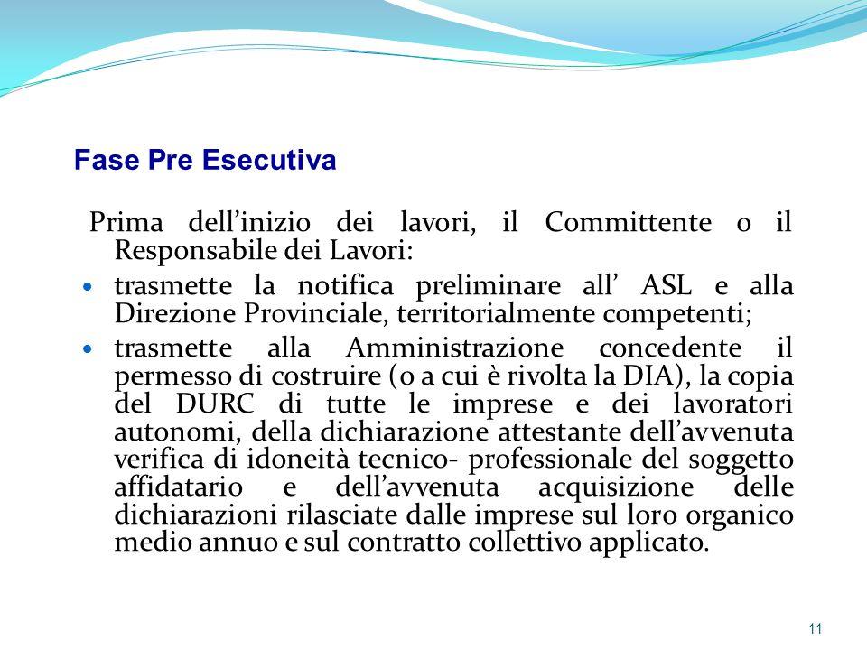 Prima dell'inizio dei lavori, il Committente o il Responsabile dei Lavori: trasmette la notifica preliminare all' ASL e alla Direzione Provinciale, te