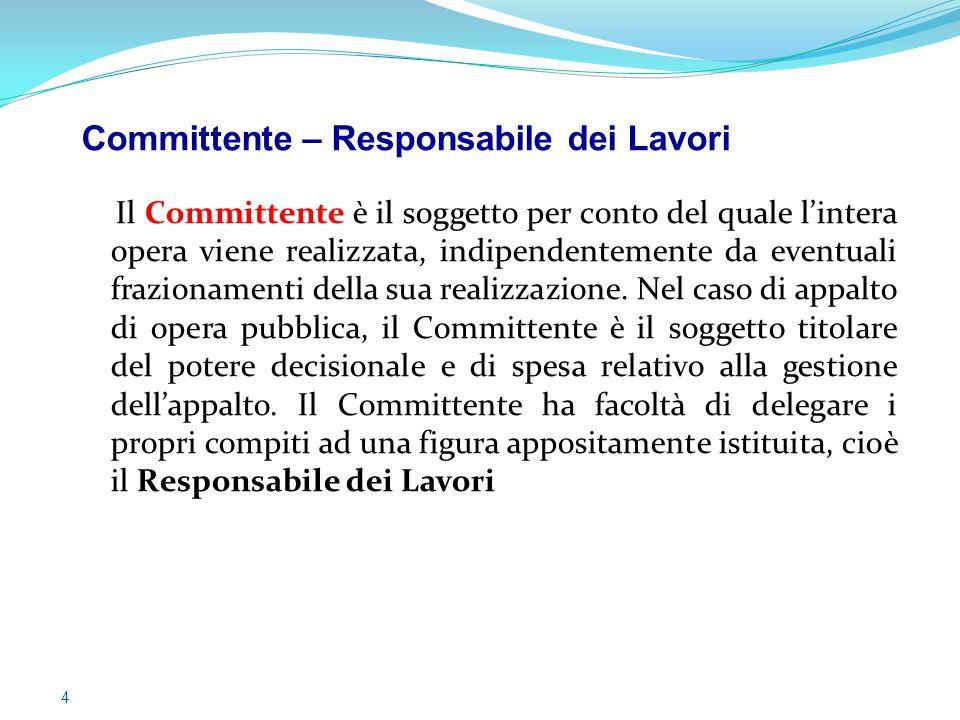 Il Committente – Responsabile dei Lavori Il Responsabile dei Lavori è il soggetto che può essere incaricato dal Committente per svolgere i compiti ad esso attribuiti dal D.Lgs.