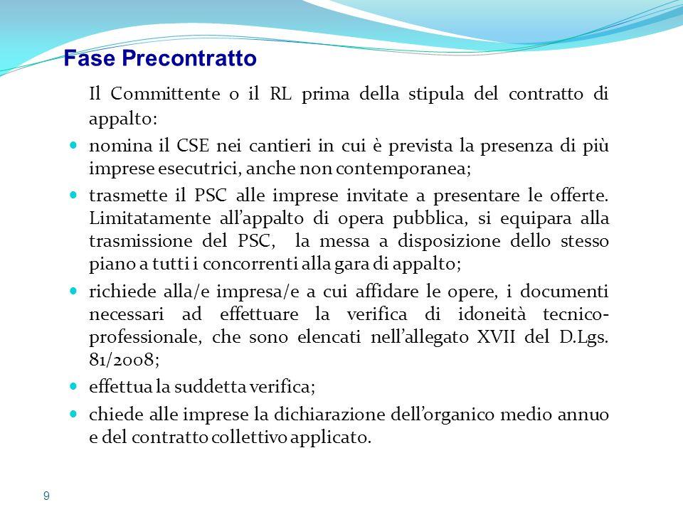 Il Committente o il RL prima della stipula del contratto di appalto: nomina il CSE nei cantieri in cui è prevista la presenza di più imprese esecutric