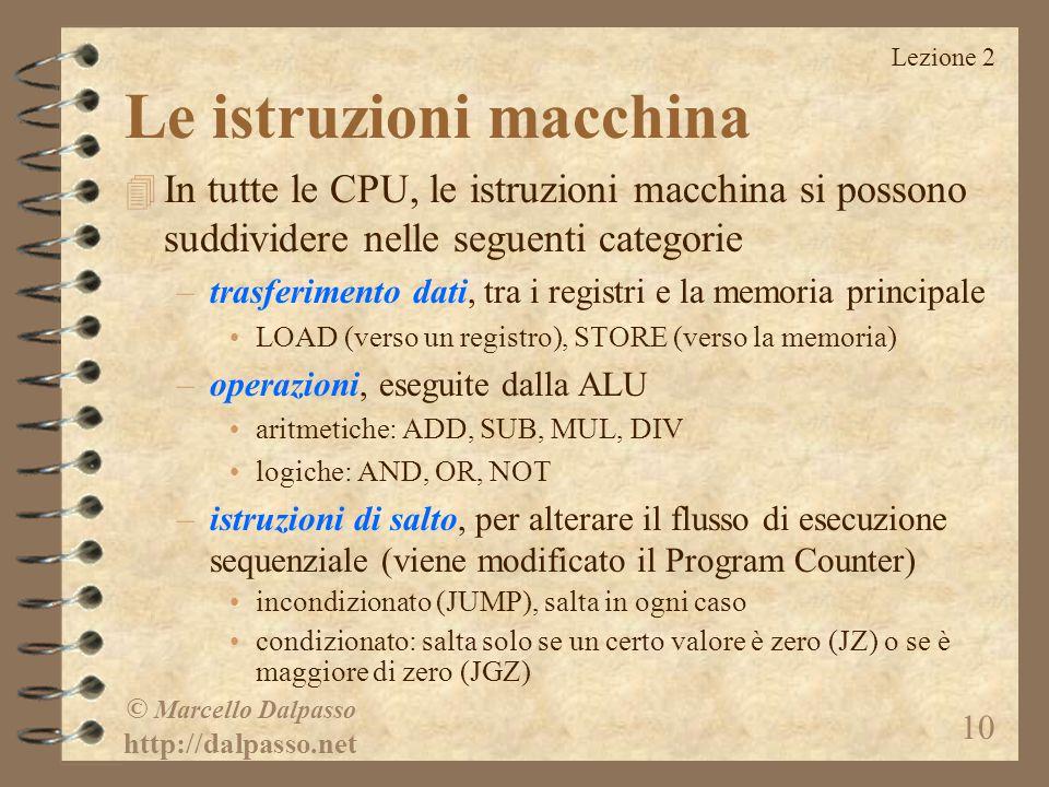 Lezione 2 © Marcello Dalpasso http://dalpasso.net 10 Le istruzioni macchina 4 In tutte le CPU, le istruzioni macchina si possono suddividere nelle seg