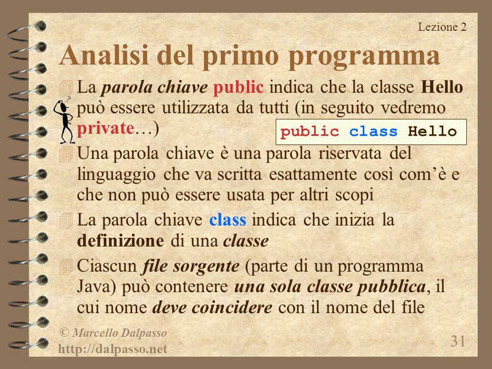 Lezione 2 © Marcello Dalpasso http://dalpasso.net 31 Analisi del primo programma 4 La parola chiave public indica che la classe Hello può essere utili