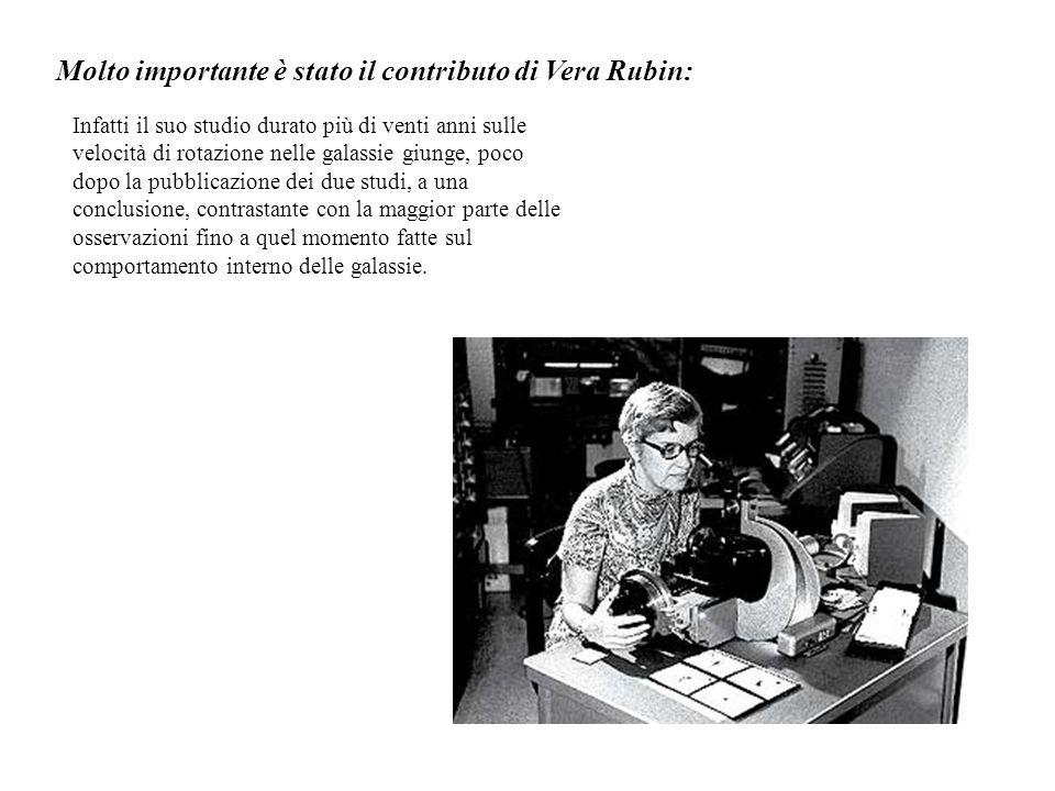 Molto importante è stato il contributo di Vera Rubin: Infatti il suo studio durato più di venti anni sulle velocità di rotazione nelle galassie giunge