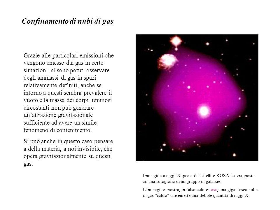 Immagine a raggi X presa dal satellite ROSAT sovrapposta ad una fotografia di un gruppo di galassie. L'immagine mostra, in falso colore rosa, una giga
