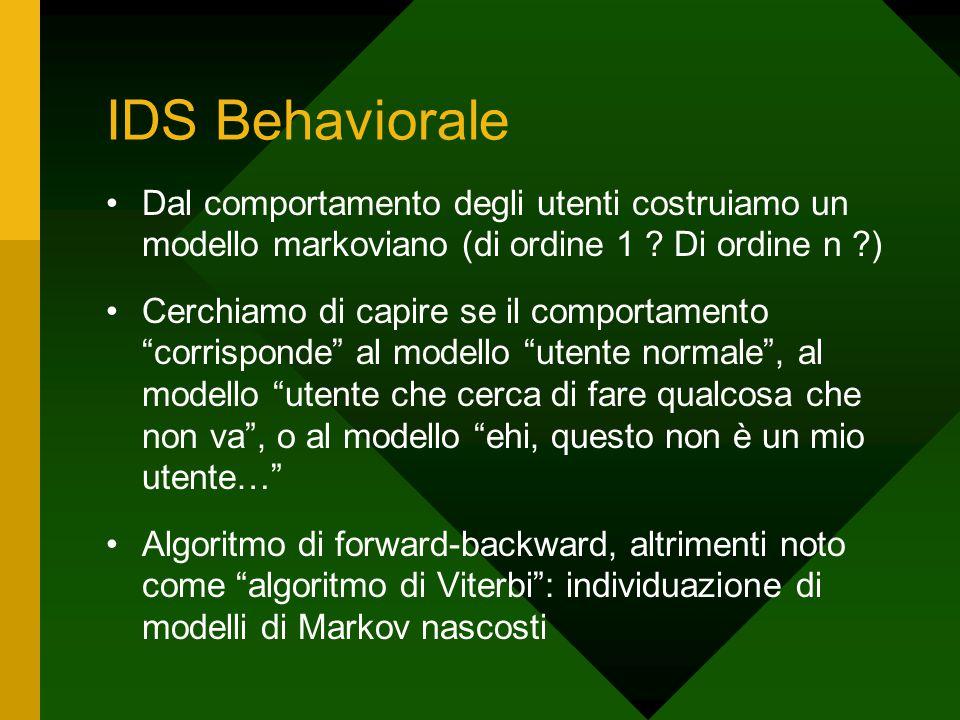 IDS Behaviorale Dal comportamento degli utenti costruiamo un modello markoviano (di ordine 1 ? Di ordine n ?) Cerchiamo di capire se il comportamento