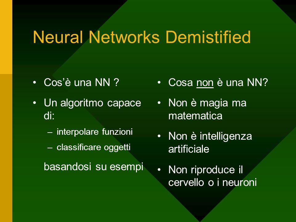 Neural Networks Demistified Cos'è una NN ? Un algoritmo capace di: –interpolare funzioni –classificare oggetti basandosi su esempi Cosa non è una NN?