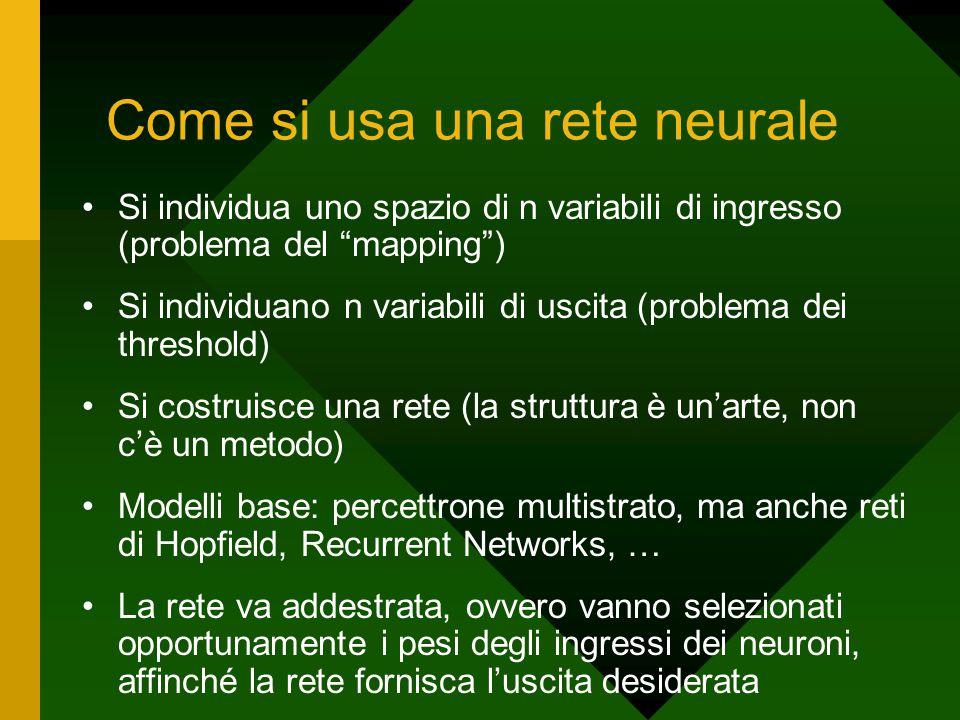 """Come si usa una rete neurale Si individua uno spazio di n variabili di ingresso (problema del """"mapping"""") Si individuano n variabili di uscita (problem"""