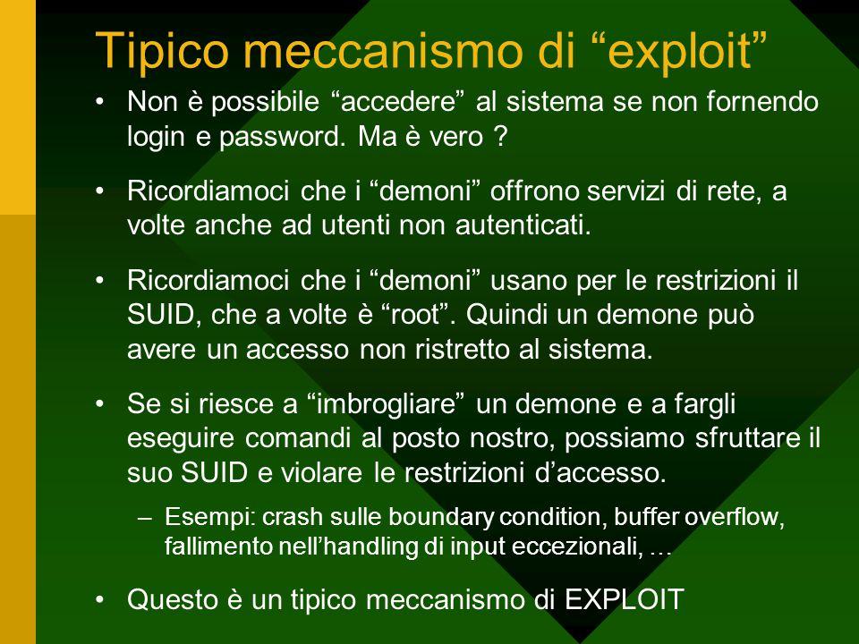 """Tipico meccanismo di """"exploit"""" Non è possibile """"accedere"""" al sistema se non fornendo login e password. Ma è vero ? Ricordiamoci che i """"demoni"""" offrono"""