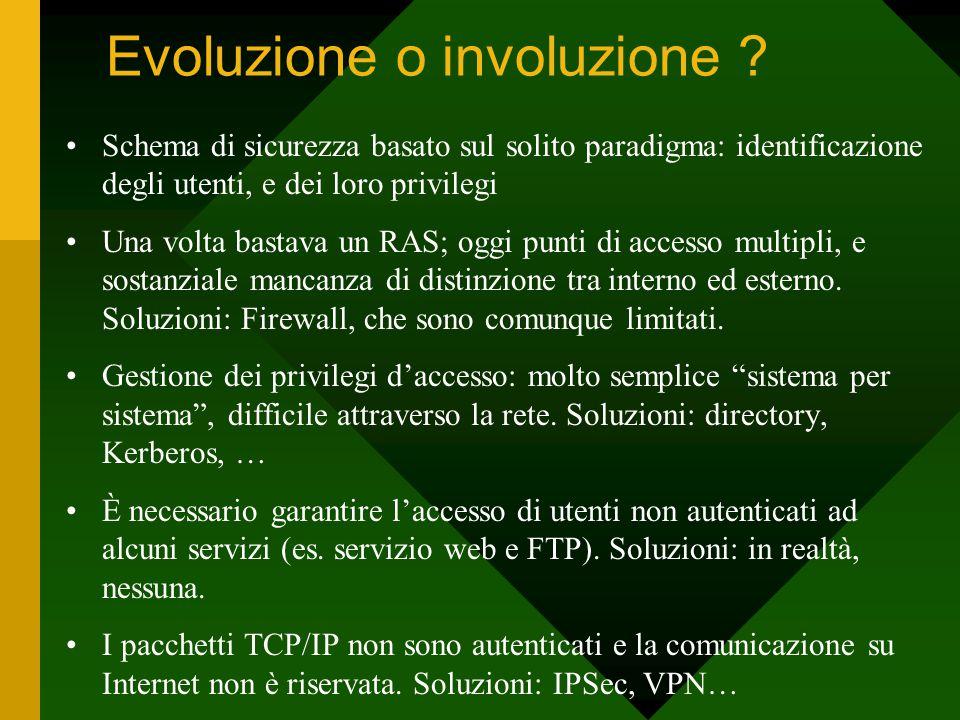 Evoluzione o involuzione ? Schema di sicurezza basato sul solito paradigma: identificazione degli utenti, e dei loro privilegi Una volta bastava un RA