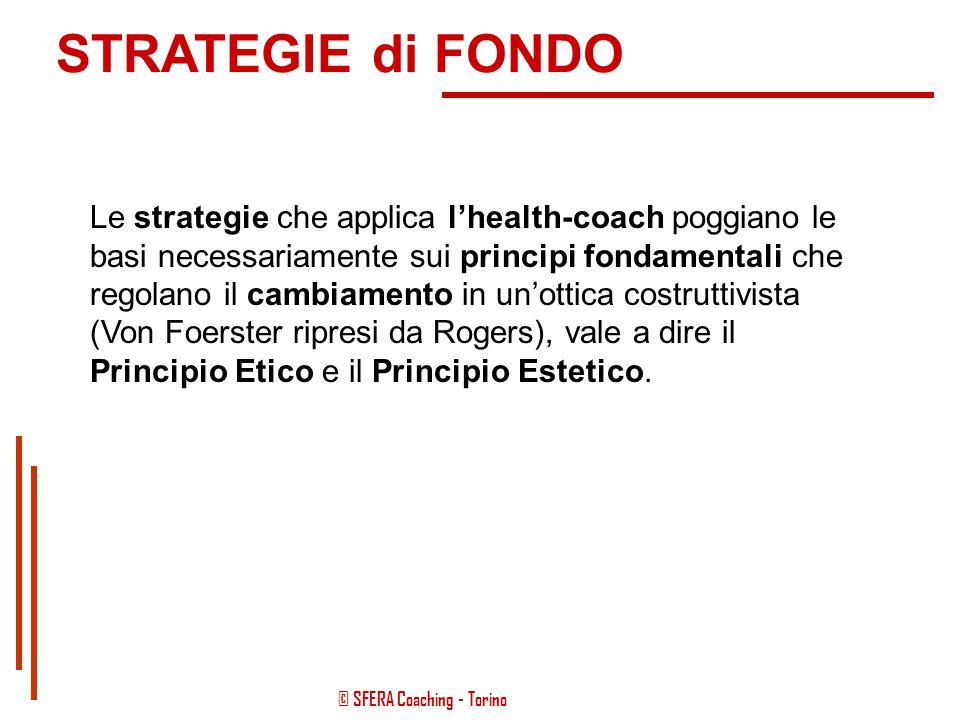 © SFERA Coaching - Torino STRATEGIE di FONDO Le strategie vengono attuate con l'impiego degli strumenti opportuni, ma sviluppano delle dinamiche propr