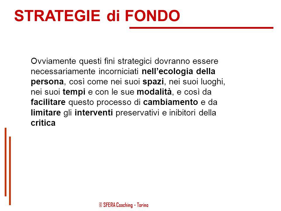 © SFERA Coaching - Torino Il tutto potenziando il senso di autoefficacia e rendendo maggiormente consapevole la persona di ciò che sta accadendo, sia