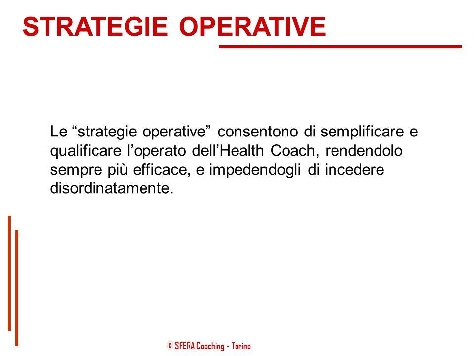 © SFERA Coaching - Torino Ovviamente questi fini strategici dovranno essere necessariamente incorniciati nell'ecologia della persona, così come nei su