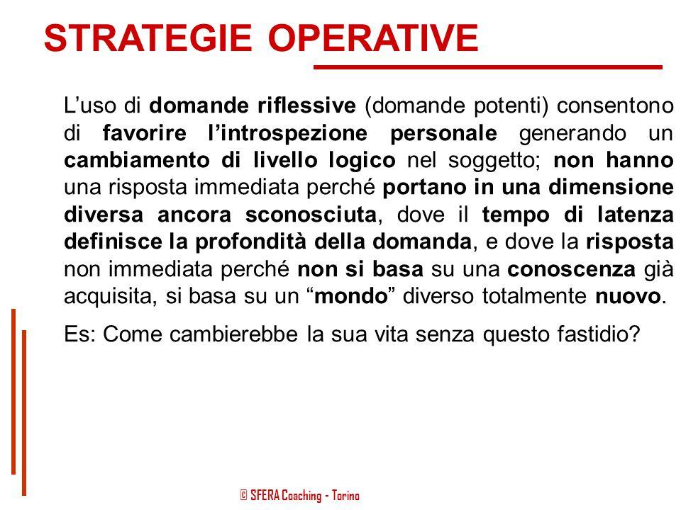 © SFERA Coaching - Torino STRATEGIE OPERATIVE L'uso di domande investigative consente un avvicinamento per gradi al problema partendo da tutto quello