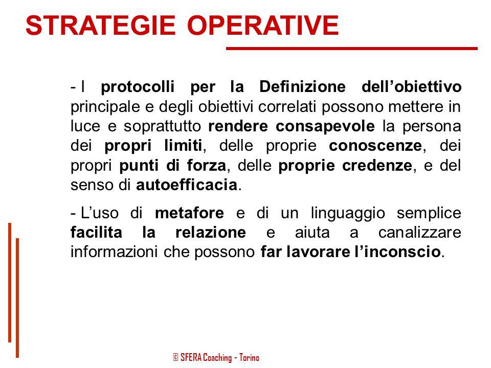 © SFERA Coaching - Torino STRATEGIE OPERATIVE -La riqualificazione fisico-nutrizionale dà più enfasi al concetto di persona-attrice del cambiamento: s
