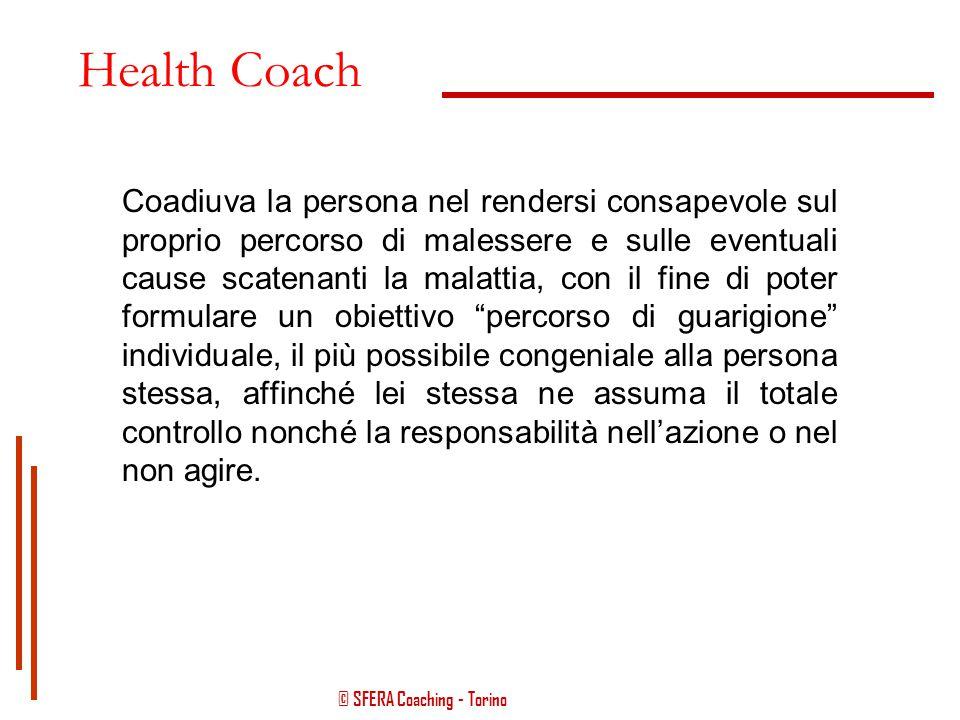 """© SFERA Coaching - Torino Health Coach Professionista che si occupa di accompagnare e sostenere la persona nel suo percorso di """"guarigione"""", o di cons"""