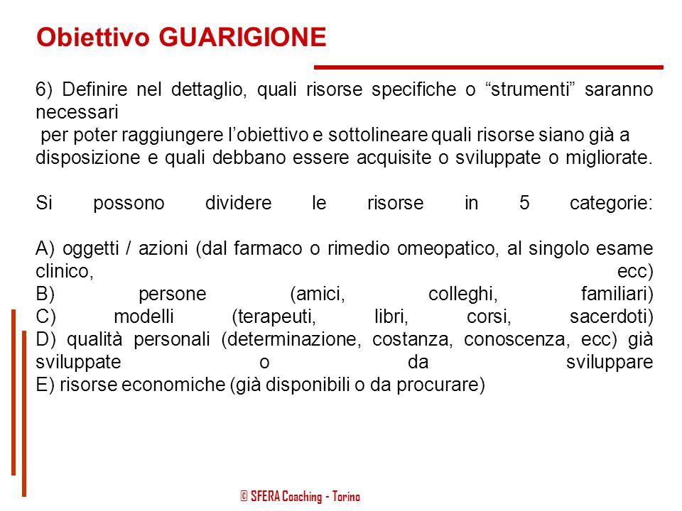 © SFERA Coaching - Torino Obiettivo GUARIGIONE 4) Implica lo stabilire i CRITERI DI MISURAZIONE dei propri progressi: in base a questi criteri, si sap
