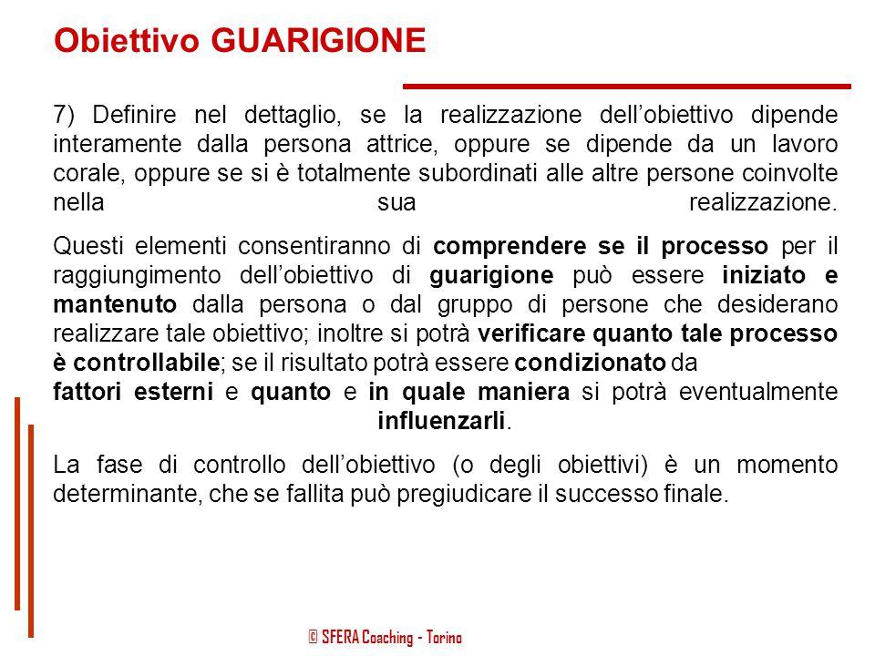 """© SFERA Coaching - Torino Obiettivo GUARIGIONE 6) Definire nel dettaglio, quali risorse specifiche o """"strumenti"""" saranno necessari per poter raggiunge"""