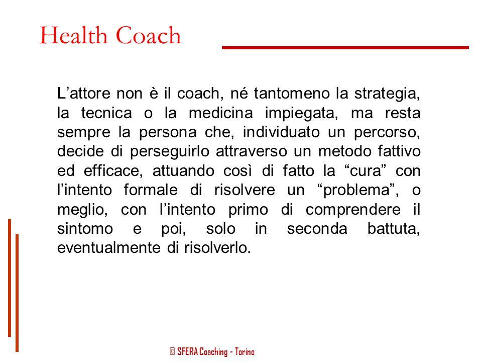 © SFERA Coaching - Torino Health Coach Il ruolo dell'health coach si pone al di fuori delle dinamiche terapeuta – paziente, in quanto la sua azione si