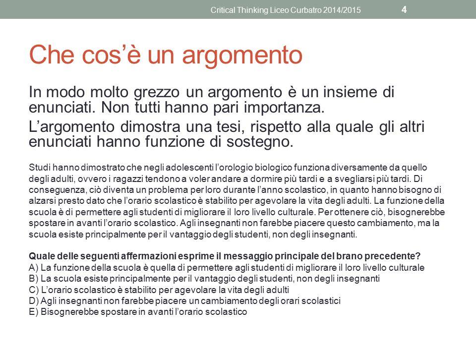 I tasselli dell'argomentazione Le argomentazioni raramente sono costruite in maniera così chiara.