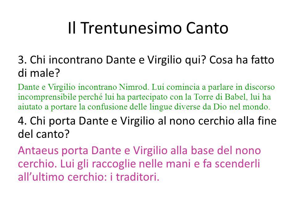 3. Chi incontrano Dante e Virgilio qui? Cosa ha fatto di male? Dante e Virgilio incontrano Nimrod. Lui comincia a parlare in discorso incomprensibile