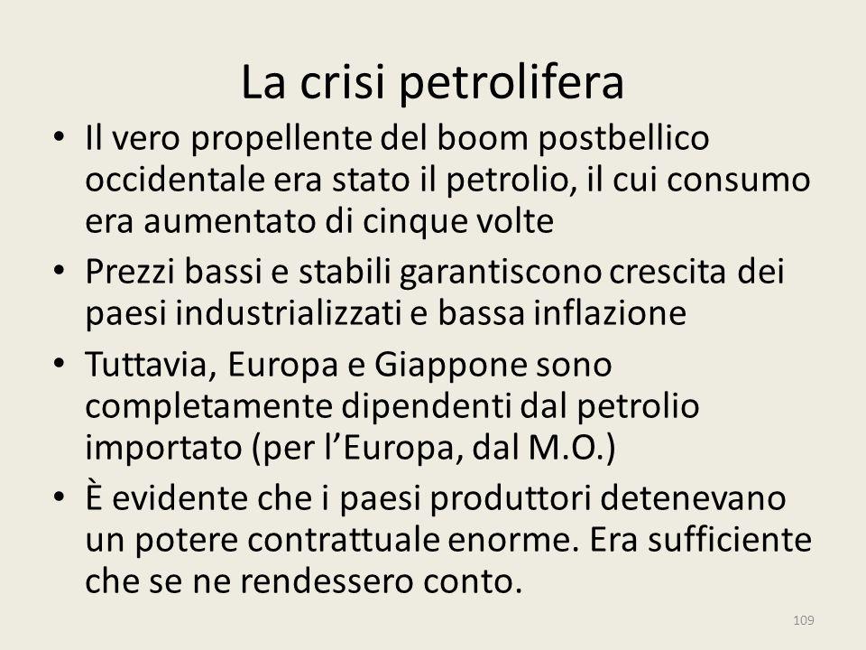 La crisi petrolifera Il vero propellente del boom postbellico occidentale era stato il petrolio, il cui consumo era aumentato di cinque volte Prezzi b