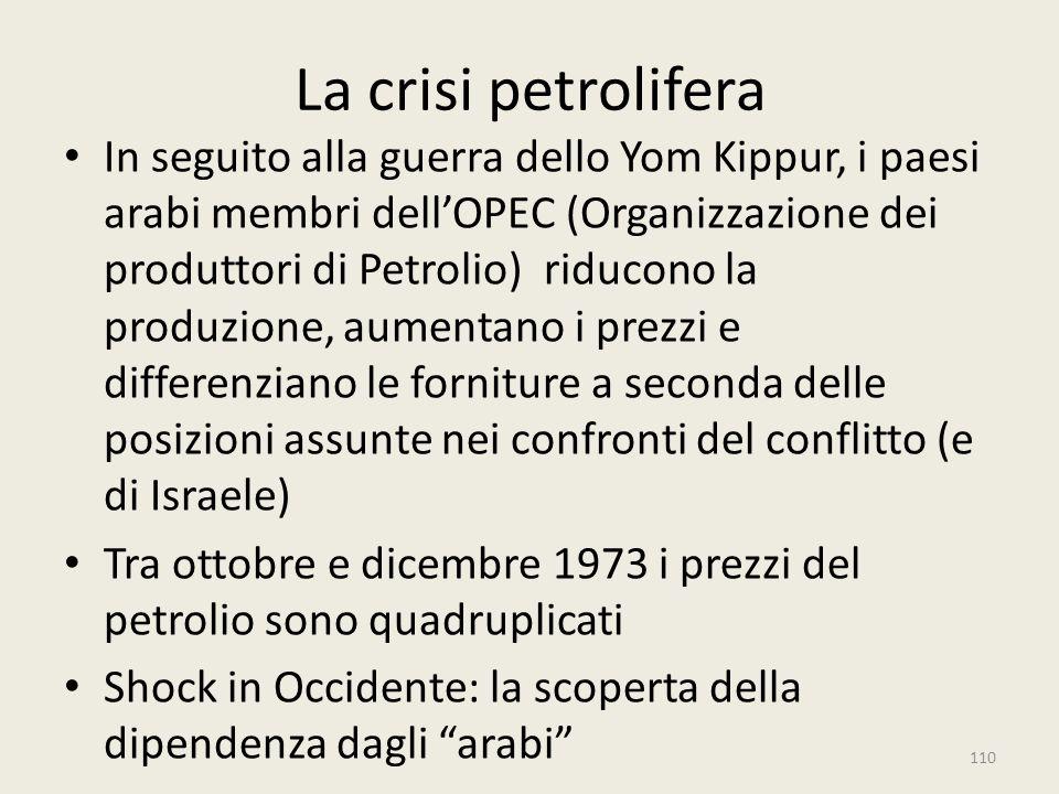 La crisi petrolifera In seguito alla guerra dello Yom Kippur, i paesi arabi membri dell'OPEC (Organizzazione dei produttori di Petrolio) riducono la p