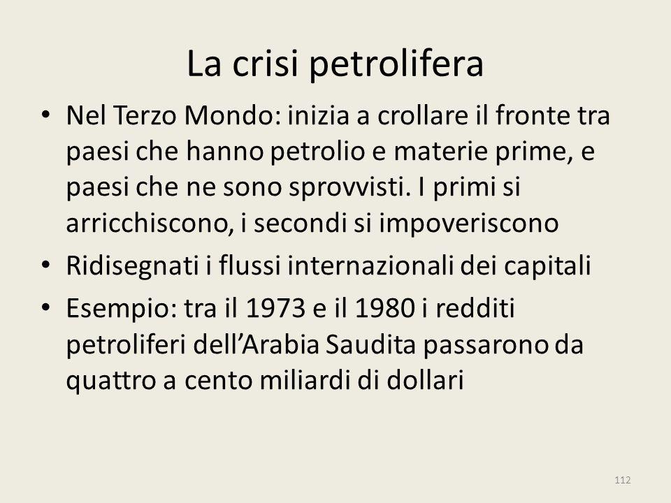 La crisi petrolifera Nel Terzo Mondo: inizia a crollare il fronte tra paesi che hanno petrolio e materie prime, e paesi che ne sono sprovvisti. I prim