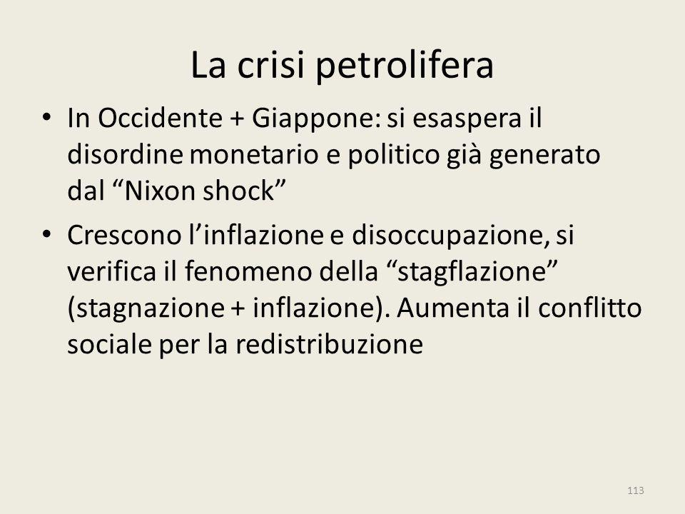 """La crisi petrolifera In Occidente + Giappone: si esaspera il disordine monetario e politico già generato dal """"Nixon shock"""" Crescono l'inflazione e dis"""