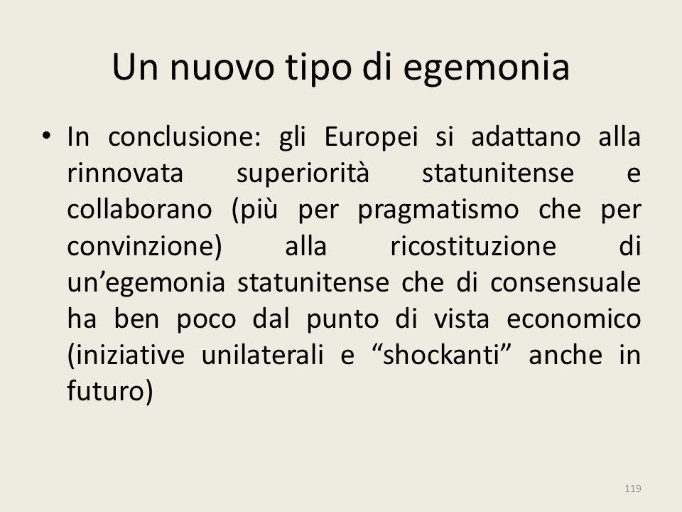 119 Un nuovo tipo di egemonia In conclusione: gli Europei si adattano alla rinnovata superiorità statunitense e collaborano (più per pragmatismo che p