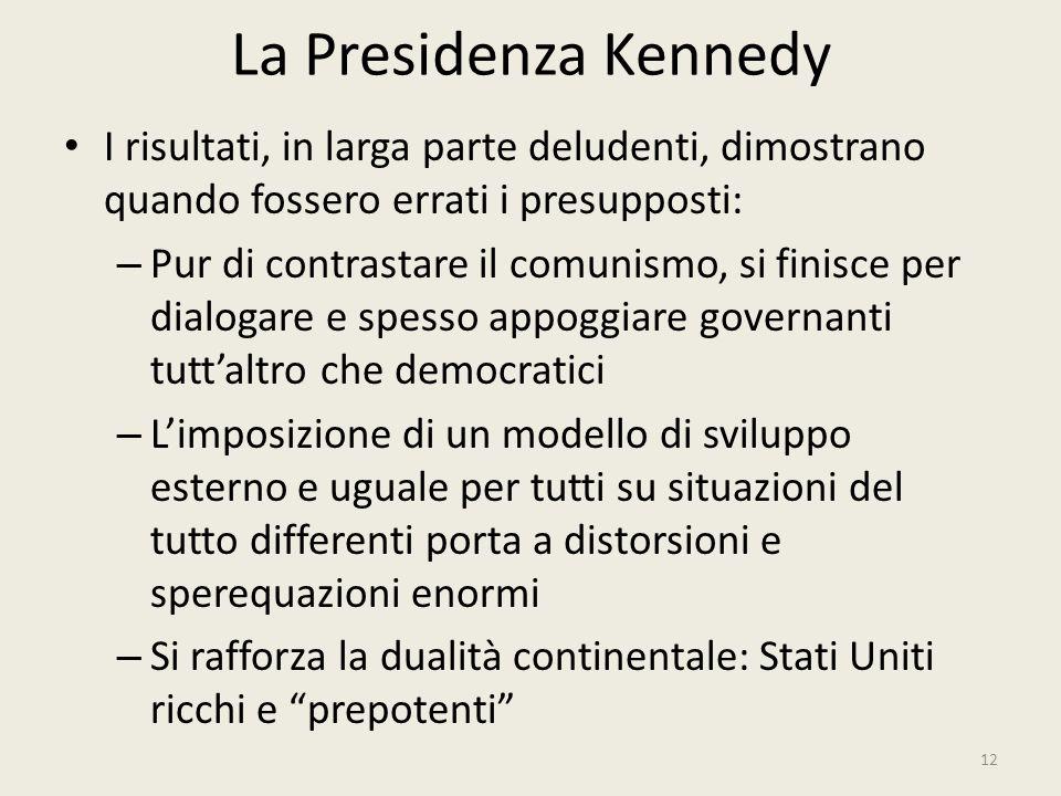 La Presidenza Kennedy 12 I risultati, in larga parte deludenti, dimostrano quando fossero errati i presupposti: – Pur di contrastare il comunismo, si