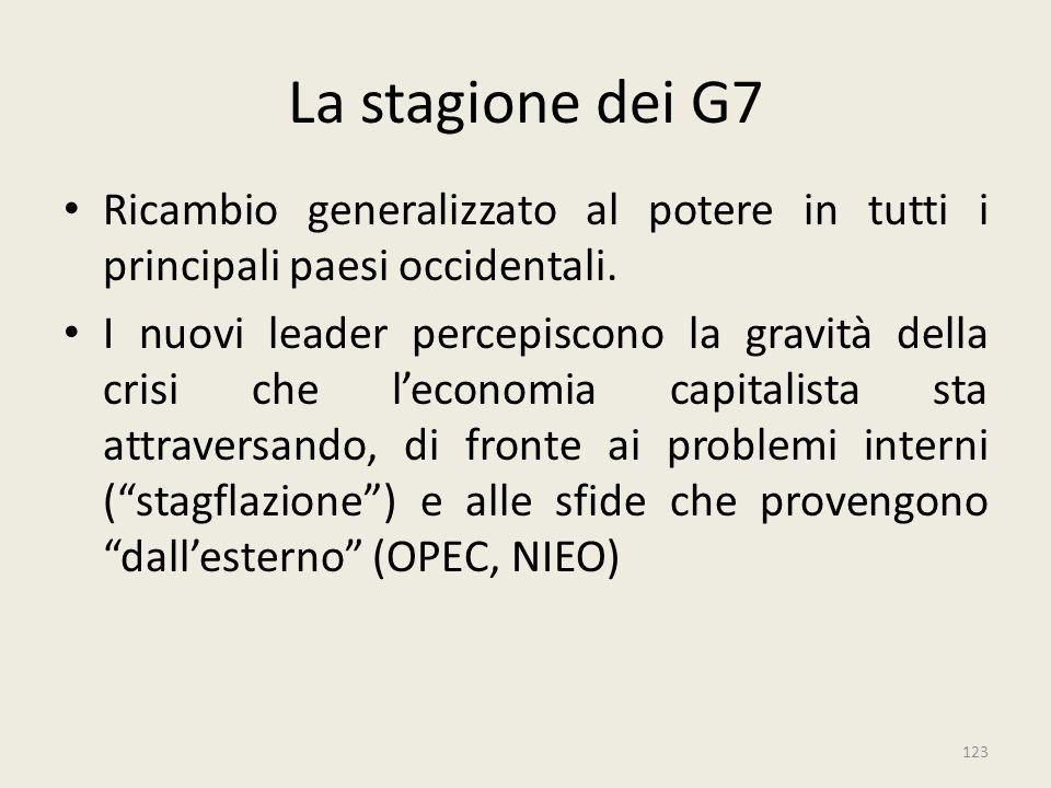 123 La stagione dei G7 Ricambio generalizzato al potere in tutti i principali paesi occidentali. I nuovi leader percepiscono la gravità della crisi ch