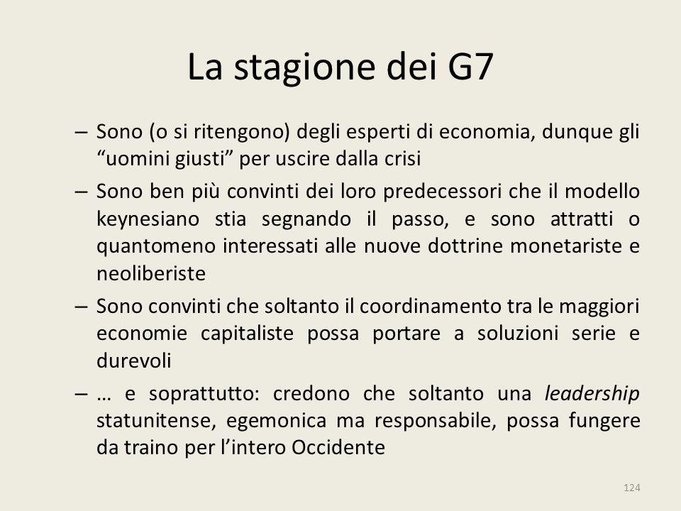 """124 La stagione dei G7 – Sono (o si ritengono) degli esperti di economia, dunque gli """"uomini giusti"""" per uscire dalla crisi – Sono ben più convinti de"""