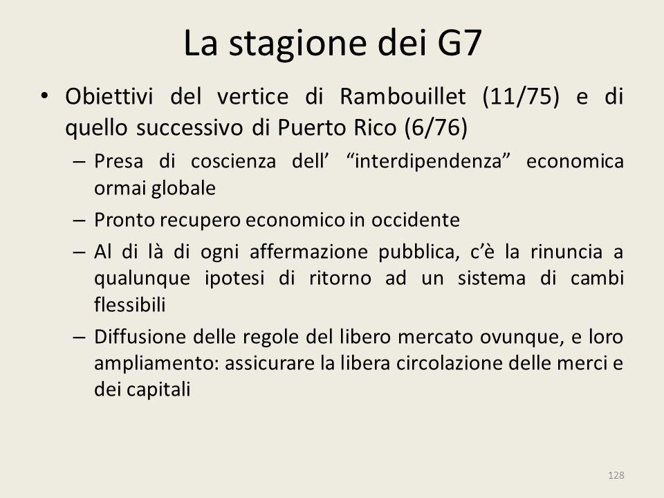 """128 La stagione dei G7 Obiettivi del vertice di Rambouillet (11/75) e di quello successivo di Puerto Rico (6/76) – Presa di coscienza dell' """"interdipe"""