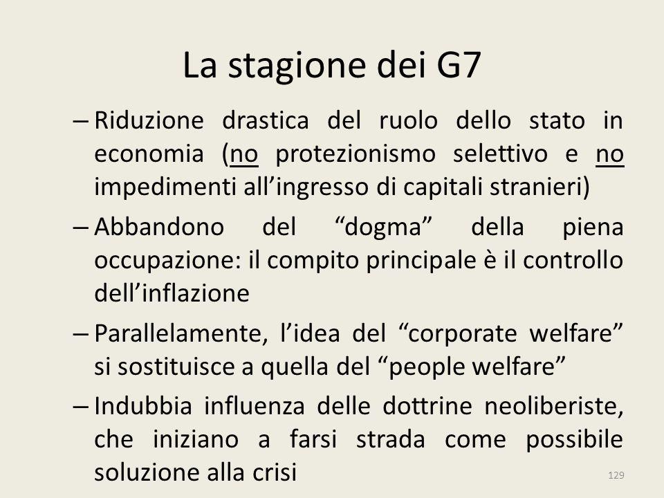 129 La stagione dei G7 – Riduzione drastica del ruolo dello stato in economia (no protezionismo selettivo e no impedimenti all'ingresso di capitali st