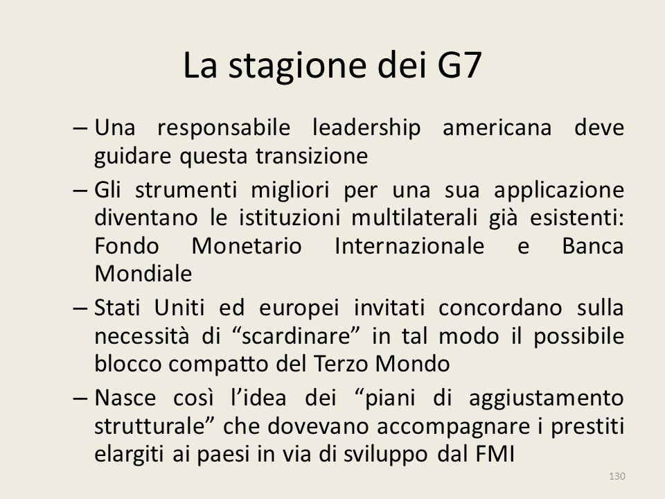 130 La stagione dei G7 – Una responsabile leadership americana deve guidare questa transizione – Gli strumenti migliori per una sua applicazione diven