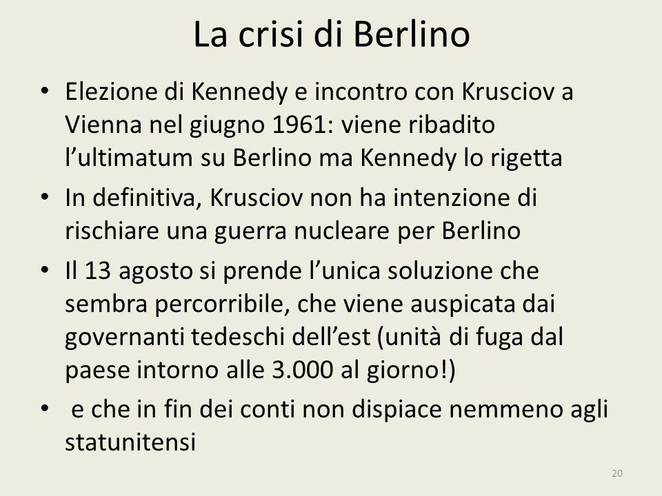 La crisi di Berlino 20 Elezione di Kennedy e incontro con Krusciov a Vienna nel giugno 1961: viene ribadito l'ultimatum su Berlino ma Kennedy lo riget