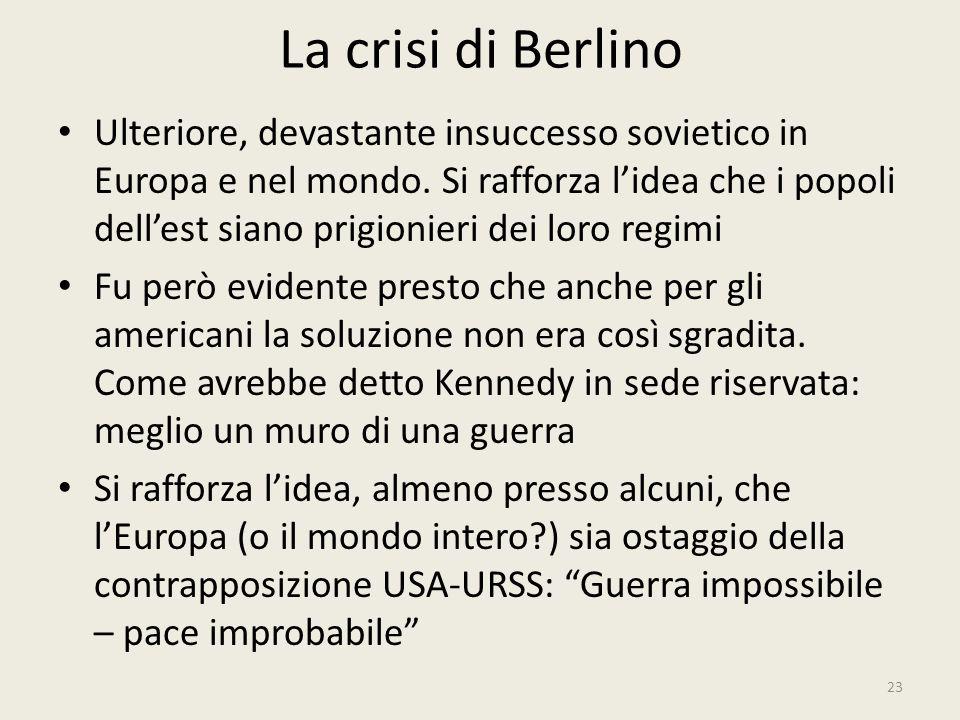 La crisi di Berlino 23 Ulteriore, devastante insuccesso sovietico in Europa e nel mondo. Si rafforza l'idea che i popoli dell'est siano prigionieri de