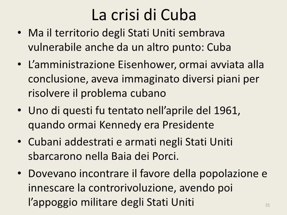 La crisi di Cuba 35 Ma il territorio degli Stati Uniti sembrava vulnerabile anche da un altro punto: Cuba L'amministrazione Eisenhower, ormai avviata