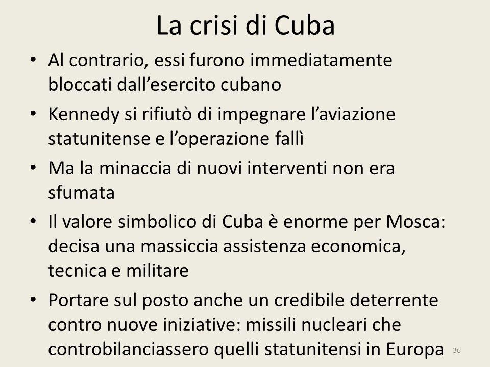 La crisi di Cuba 36 Al contrario, essi furono immediatamente bloccati dall'esercito cubano Kennedy si rifiutò di impegnare l'aviazione statunitense e
