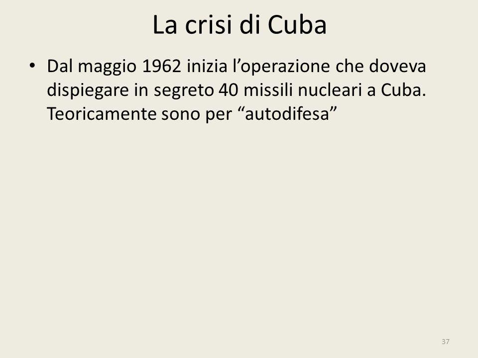 """La crisi di Cuba 37 Dal maggio 1962 inizia l'operazione che doveva dispiegare in segreto 40 missili nucleari a Cuba. Teoricamente sono per """"autodifesa"""
