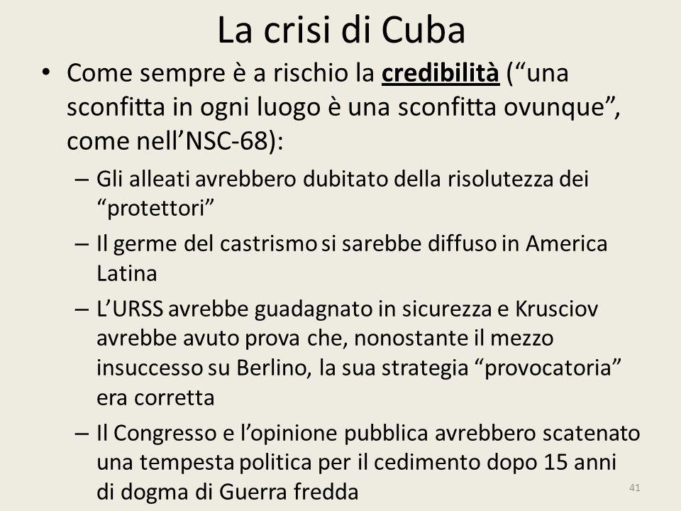 """La crisi di Cuba 41 Come sempre è a rischio la credibilità (""""una sconfitta in ogni luogo è una sconfitta ovunque"""", come nell'NSC-68): – Gli alleati av"""