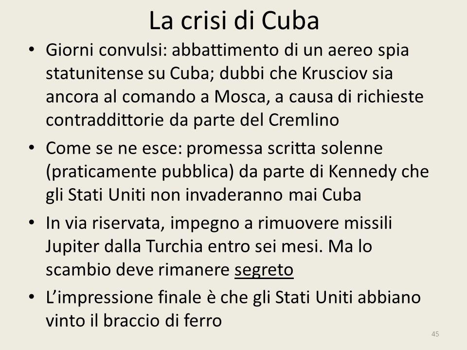 La crisi di Cuba 45 Giorni convulsi: abbattimento di un aereo spia statunitense su Cuba; dubbi che Krusciov sia ancora al comando a Mosca, a causa di