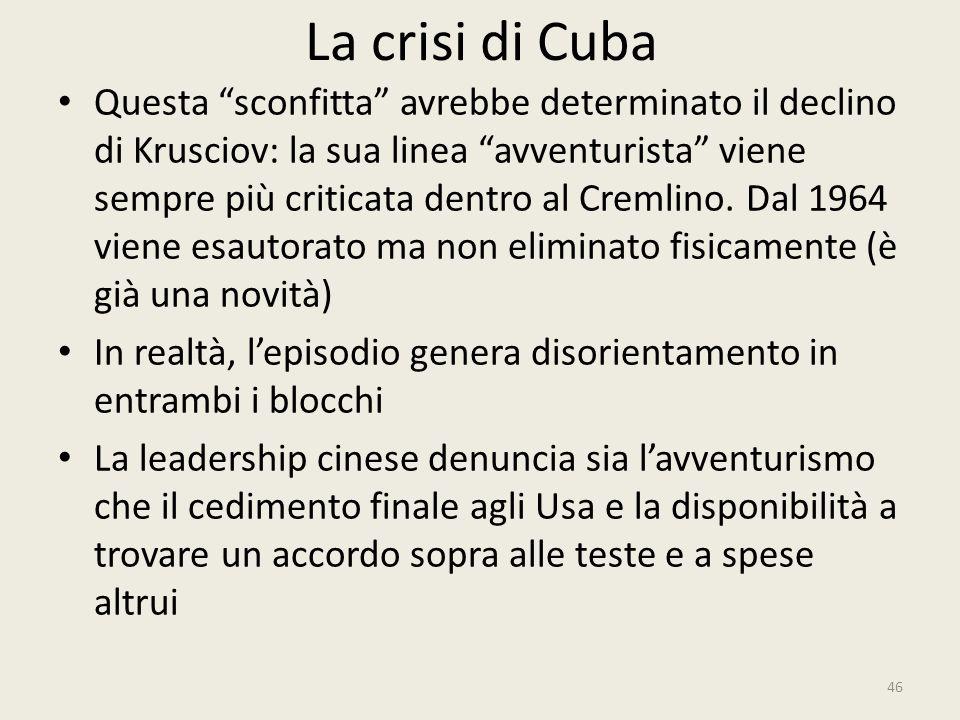 """La crisi di Cuba 46 Questa """"sconfitta"""" avrebbe determinato il declino di Krusciov: la sua linea """"avventurista"""" viene sempre più criticata dentro al Cr"""